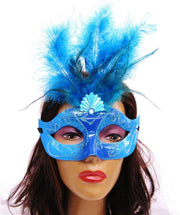 Turquoise and Turquoise Masquerade Masks with Feathers-Masquerade Masks-ABC Fashion