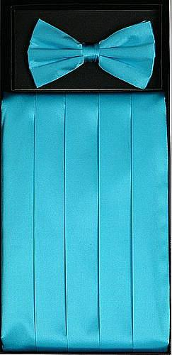 Turquoise Silk Satin Cummerbund and Bow Tie Set-Men's Cummerbund-ABC Fashion
