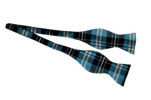 Turquoise/Black Self Tie Plaid Bow Ties-Men's Bow Ties-ABC Fashion