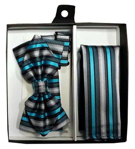 Turquoise/Black Striped Bow Tie with Pocket Square (Pointed Tip)-Men's Bow Ties-ABC Fashion