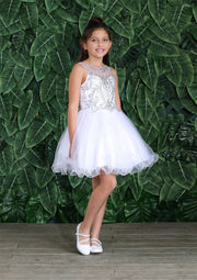 Tween Girls Short Jeweled Dress with Glitter Skirt by Calla TY013-Girls Formal Dresses-ABC Fashion