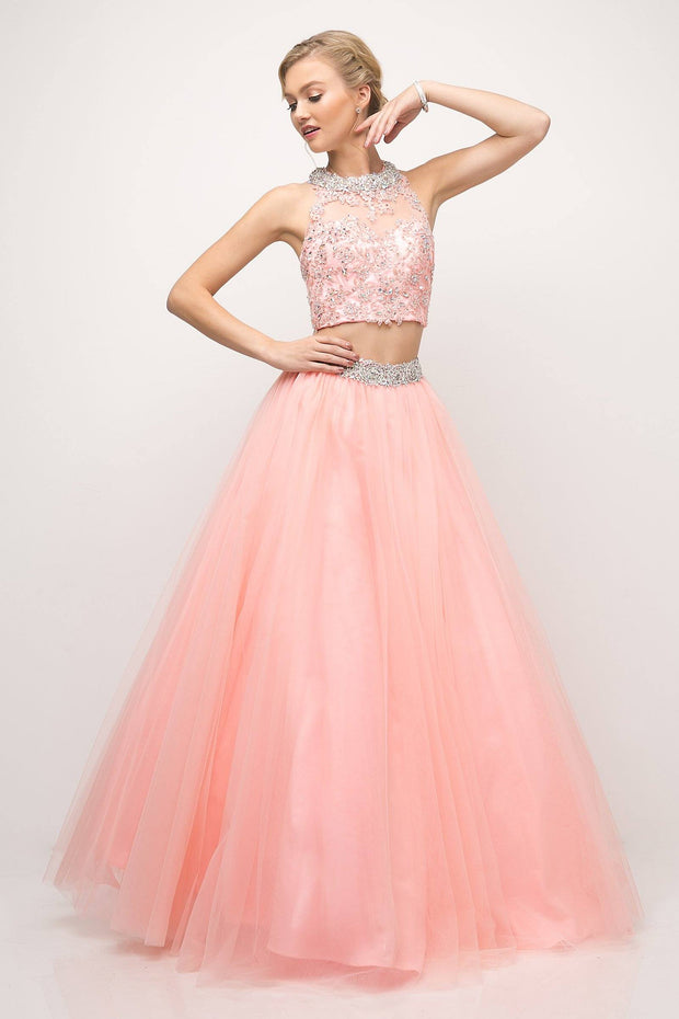 Two-Piece Ball Gown wih Beaded Lace Top by Cinderella Divine UM078-Long Formal Dresses-ABC Fashion
