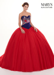 Two-Piece Floral Strapless Quinceanera Dress by Alta Couture MQ3023-Quinceanera Dresses-ABC Fashion