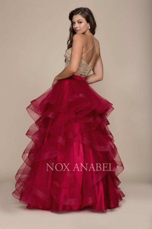 Two-Piece Long Tiered Dress with Beaded Top by Nox Anabel A055-Long Formal Dresses-ABC Fashion