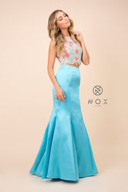 Two-Piece Mermaid Dress with Embroidered Top by Nox Anabel 8287