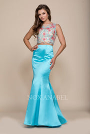 Two-Piece Mermaid Dress with Embroidered Top by Nox Anabel 8287-Long Formal Dresses-ABC Fashion