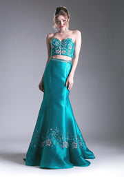 Two Piece Mermaid Dress with Floral Beaded Top by Cinderella Divine 62211-Long Formal Dresses-ABC Fashion