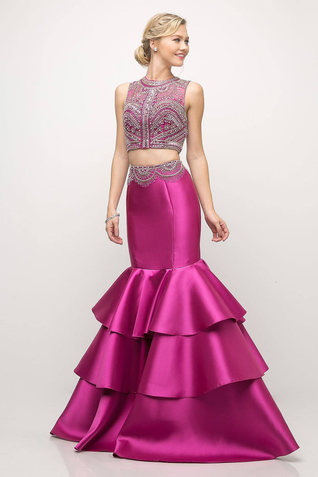 Two-Piece Mermaid Dress with Tiered Skirt by Cinderella Divine 83903-Long Formal Dresses-ABC Fashion
