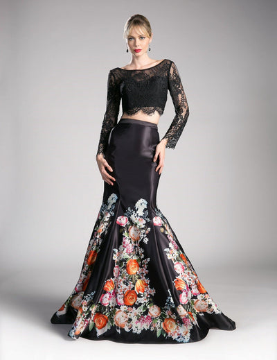 Two-Piece Print Gown with Lace Crop Top by Cinderella Divine KC1800-Long Formal Dresses-ABC Fashion