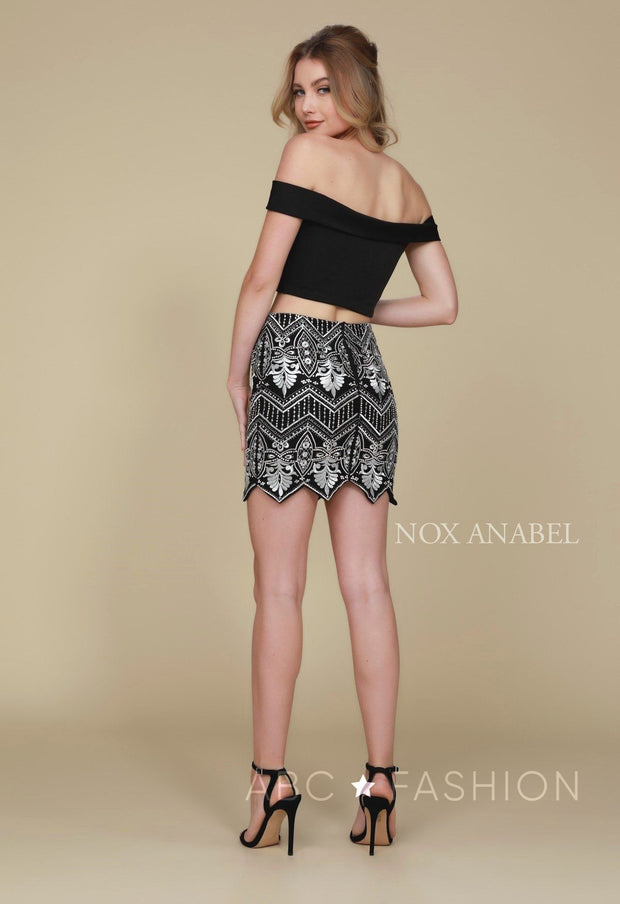 Two-Piece Short Black Dress with Embroidered Skirt by Nox Anabel M632-Short Cocktail Dresses-ABC Fashion