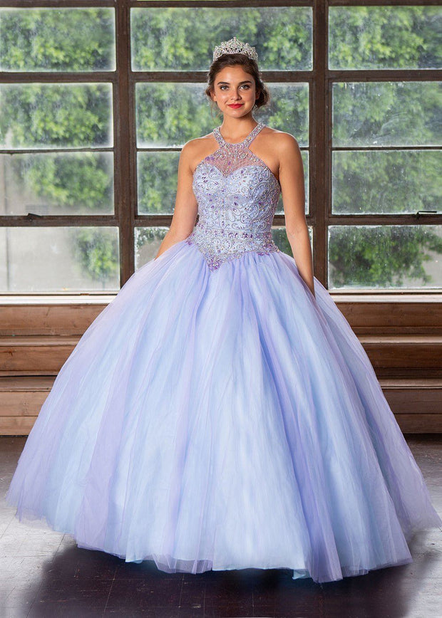 Two-Tone Beaded Halter Quinceanera Dress by Calla KY79398X-Quinceanera Dresses-ABC Fashion