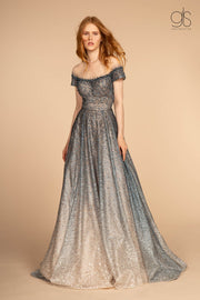 Two Tone Beaded Lace Gown with Short Sleeves by GLS Gloria GL2558-Long Formal Dresses-ABC Fashion