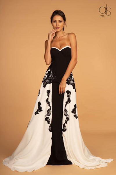 Two Tone Embellished Long Sweetheart Dress by Elizabeth K GL2582-Long Formal Dresses-ABC Fashion