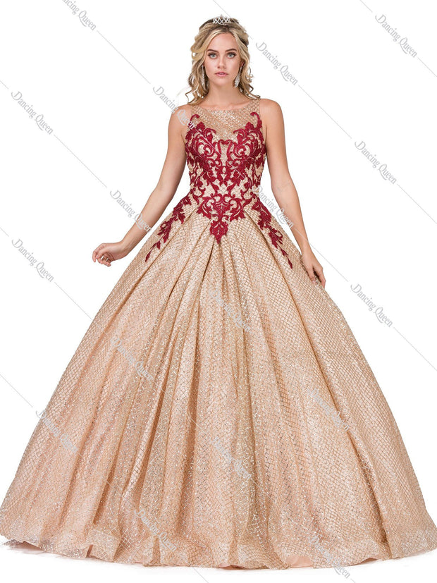 Two Tone Glitter Pattern Ball Gown by Dancing Queen 1334-Quinceanera Dresses-ABC Fashion