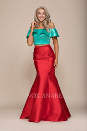 Two-Tone Off Shoulder Two-Piece Mermaid Gown by Nox Anabel Q129-Long Formal Dresses-ABC Fashion