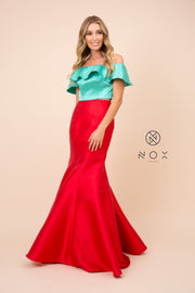 Two-Tone Off Shoulder Two-Piece Mermaid Gown by Nox Anabel Q129
