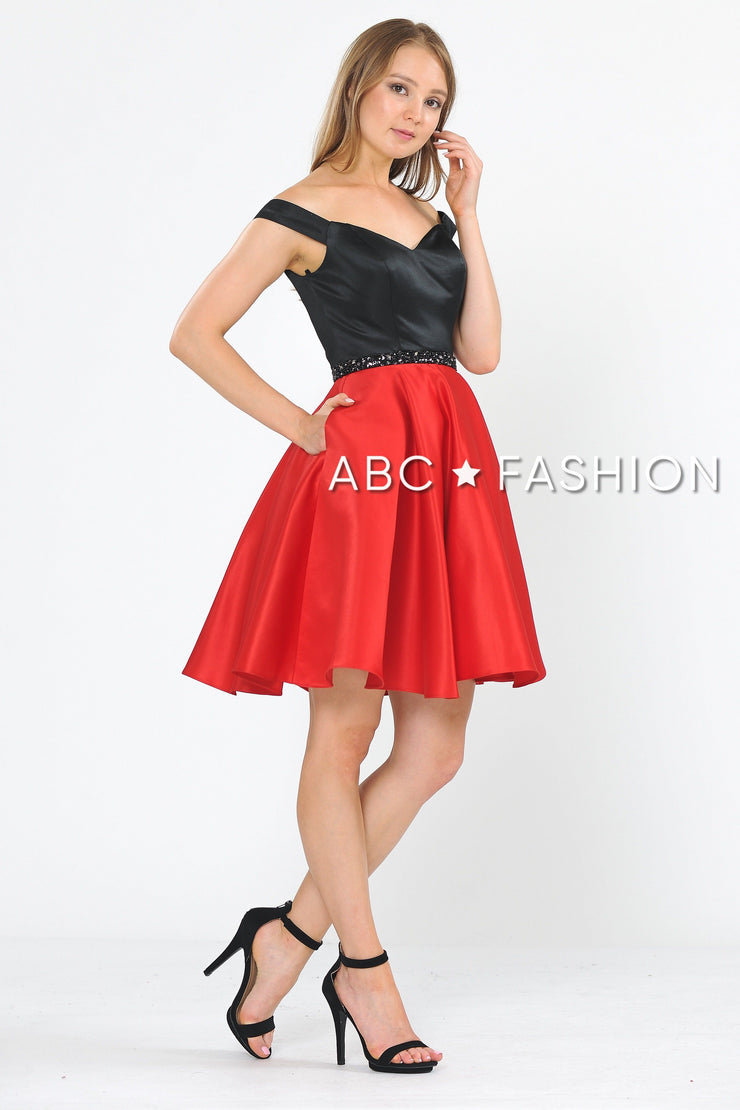 Two-Tone Short Off the Shoulder Dress by Poly USA 8532-Short Cocktail Dresses-ABC Fashion