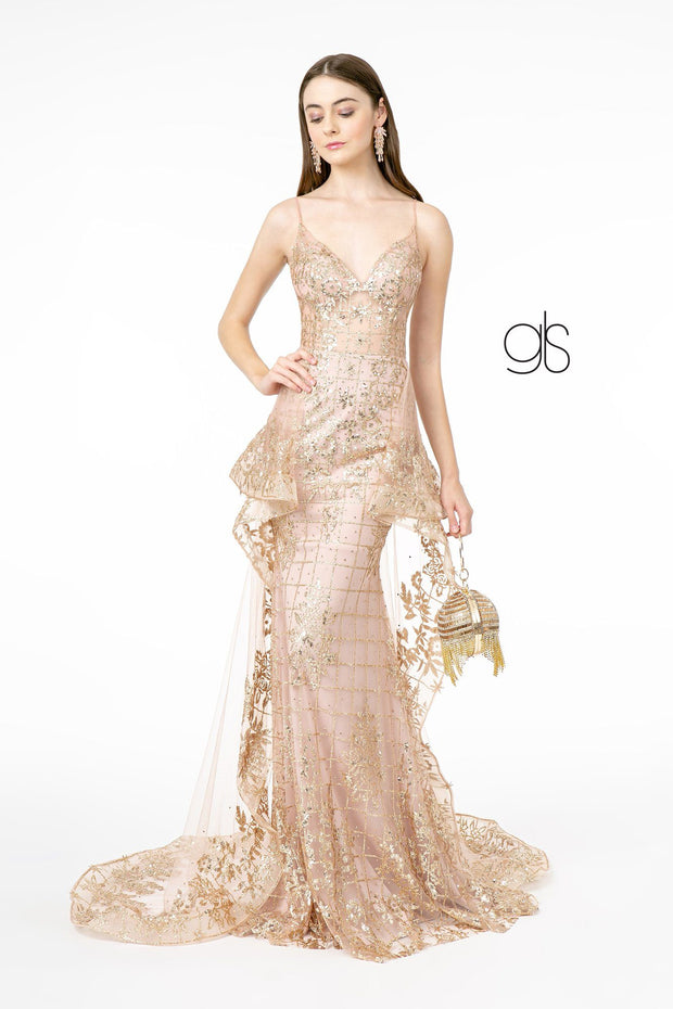 V-Neck Glitter Mermaid Gown with Train by Elizabeth K GL2959