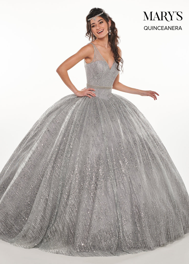 V-Neck Glitter Quinceanera Dress by Mary's Bridal MQ2072-Quinceanera Dresses-ABC Fashion