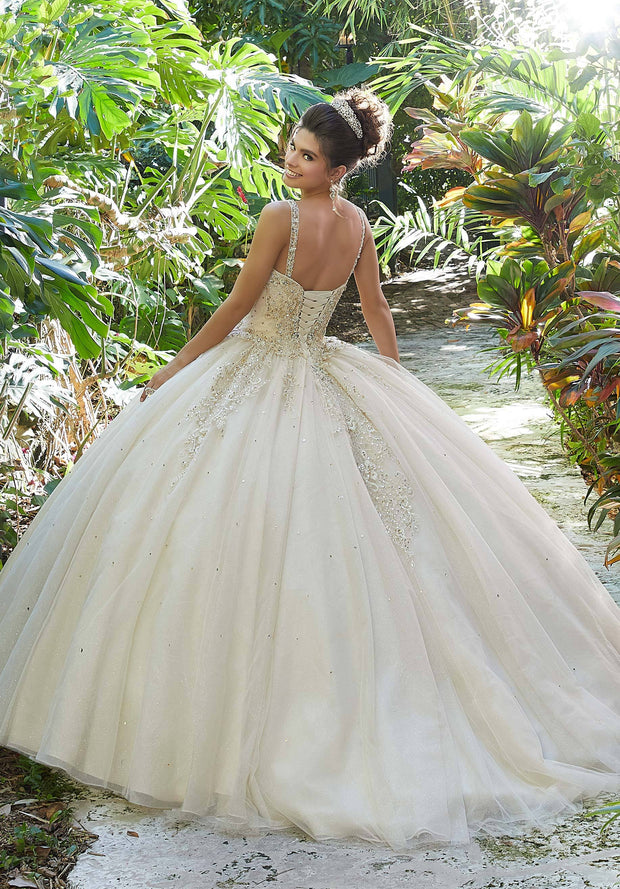 V-Neck Glitter Quinceanera Dress by Mori Lee Vizcaya 89249-Quinceanera Dresses-ABC Fashion