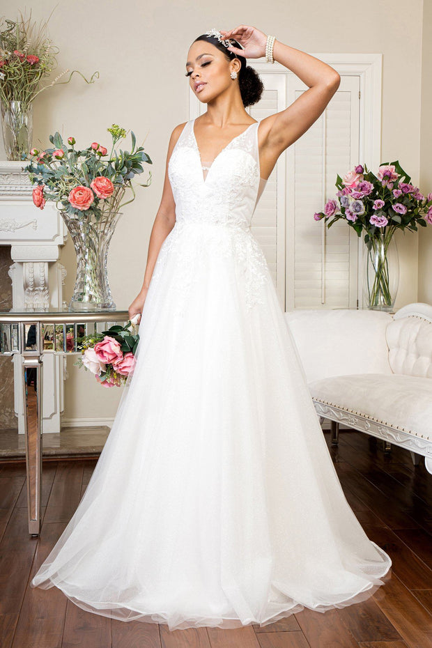 V-Neck Glitter Wedding Gown by Elizabeth K GL1906
