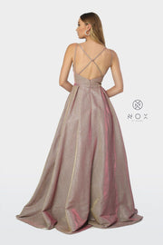 V-Neck Iridescent Ballgown with Crisscross Back by Nox Anabel E228-Long Formal Dresses-ABC Fashion