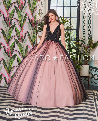 V-Neck Lace Bodice Quinceanera Dress by Forever Quince FQ788-Quinceanera Dresses-ABC Fashion