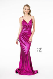 V-Neck Metallic Mermaid Gown with Corset Back by Elizabeth K GL2943