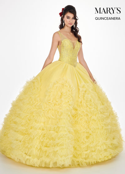 V-Neck Quinceanera Dress with Rosette Skirt by Mary's Bridal MQ1039-Quinceanera Dresses-ABC Fashion
