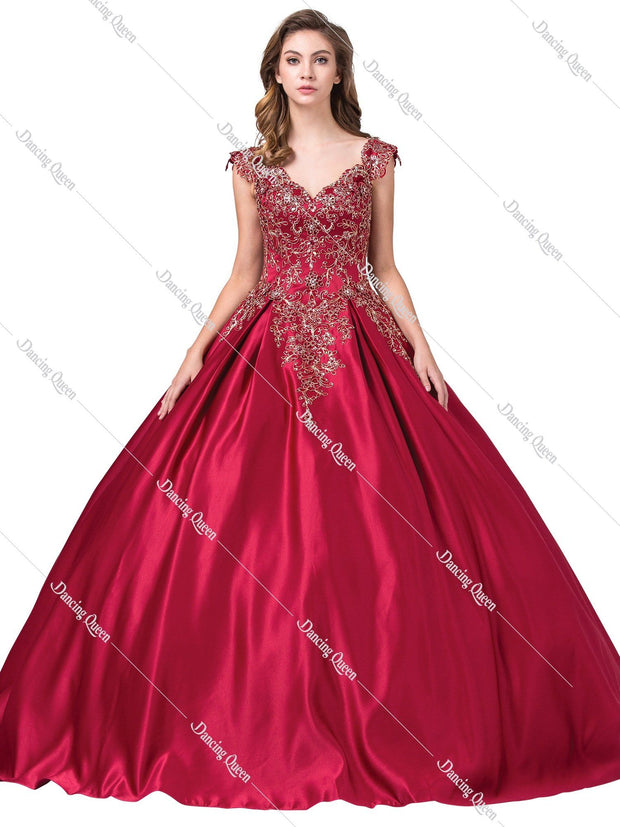 V-Neck Satin Ball Gown with Embroidered Bodice by Dancing Queen 1344-Quinceanera Dresses-ABC Fashion