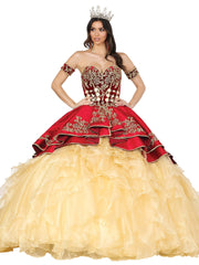 Velvet Charro Strapless Ball Gown by Dancing Queen 1529