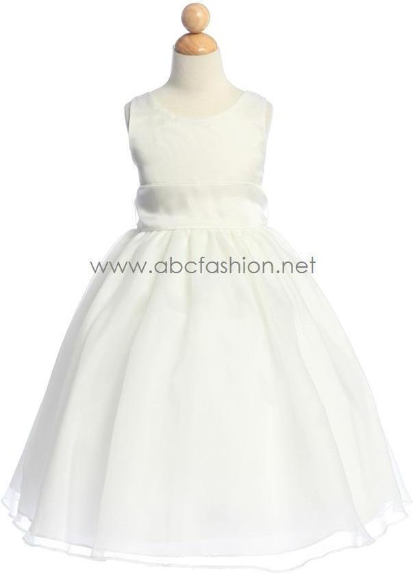 White and Ivory Flower Girl Dresses with Sash-Girls Formal Dresses-ABC Fashion