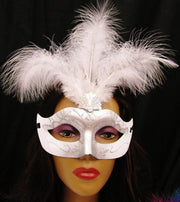 White and Silver Masquerade Masks with Feathers-Masquerade Masks-ABC Fashion
