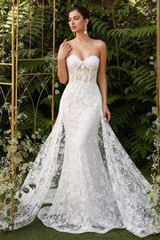 White Applique Strapless Fitted Gown by Cinderella Divine CB046W