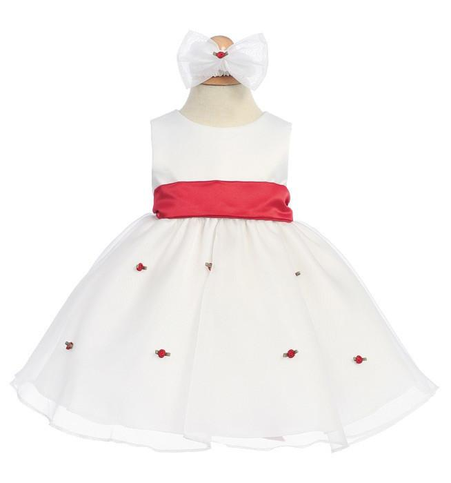 White Baby Dresses with Red Sash/Flowers-Girls Formal Dresses-ABC Fashion