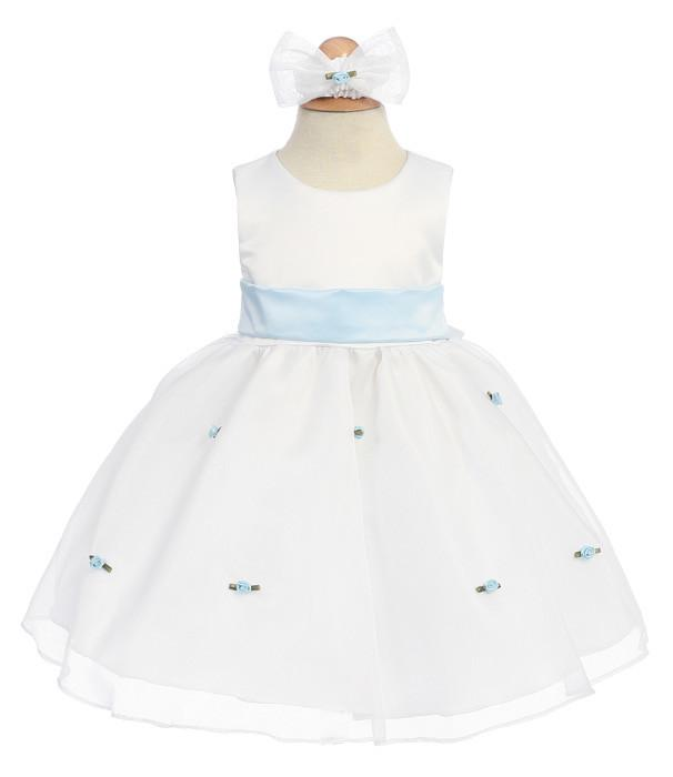 White Baby Dresses with Sky Blue Sash/Flowers-Girls Formal Dresses-ABC Fashion