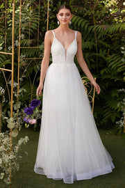 White Beaded Long Tulle Dress by Cinderella Divine CD0154W