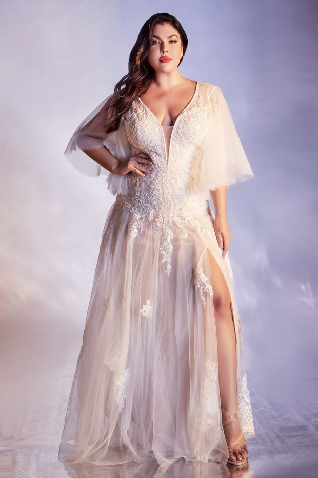 White Butterfly Sleeve Gown by Cinderella Divine CB070