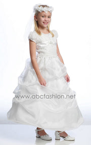 White Communion Dresses with Pickup Skirt-Girls Formal Dresses-ABC Fashion