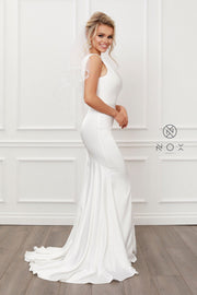 White Fitted One Shoulder Gown by Nox Anabel E483