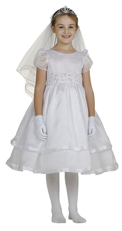White Flower Girl Dresses with Beaded Floral Embroidery-Girls Formal Dresses-ABC Fashion