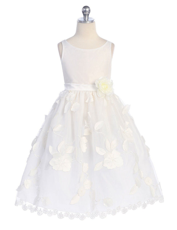 White Flower Girl Dresses with Floral Embroidery-Girls Formal Dresses-ABC Fashion