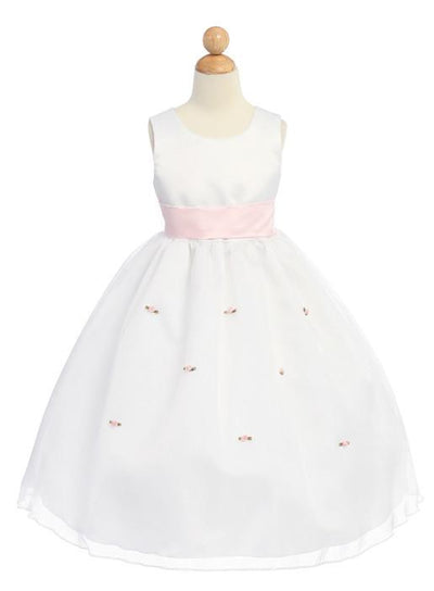White Flower Girl Dresses with Pink Sash/Flowers-Girls Formal Dresses-ABC Fashion