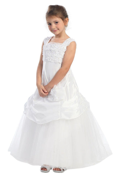 White Flower Girl Dresses with Tulle Skirt - 3 Colors-Girls Formal Dresses-ABC Fashion