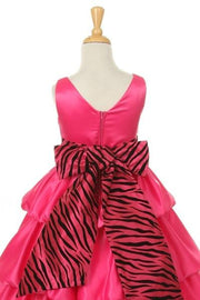 White Flower Girl Dresses with Zebra Sash-Girls Formal Dresses-ABC Fashion