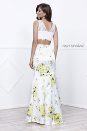 White Lace Crop Top Dress with Yellow Floral Print by Nox Anabel 8208-Long Formal Dresses-ABC Fashion