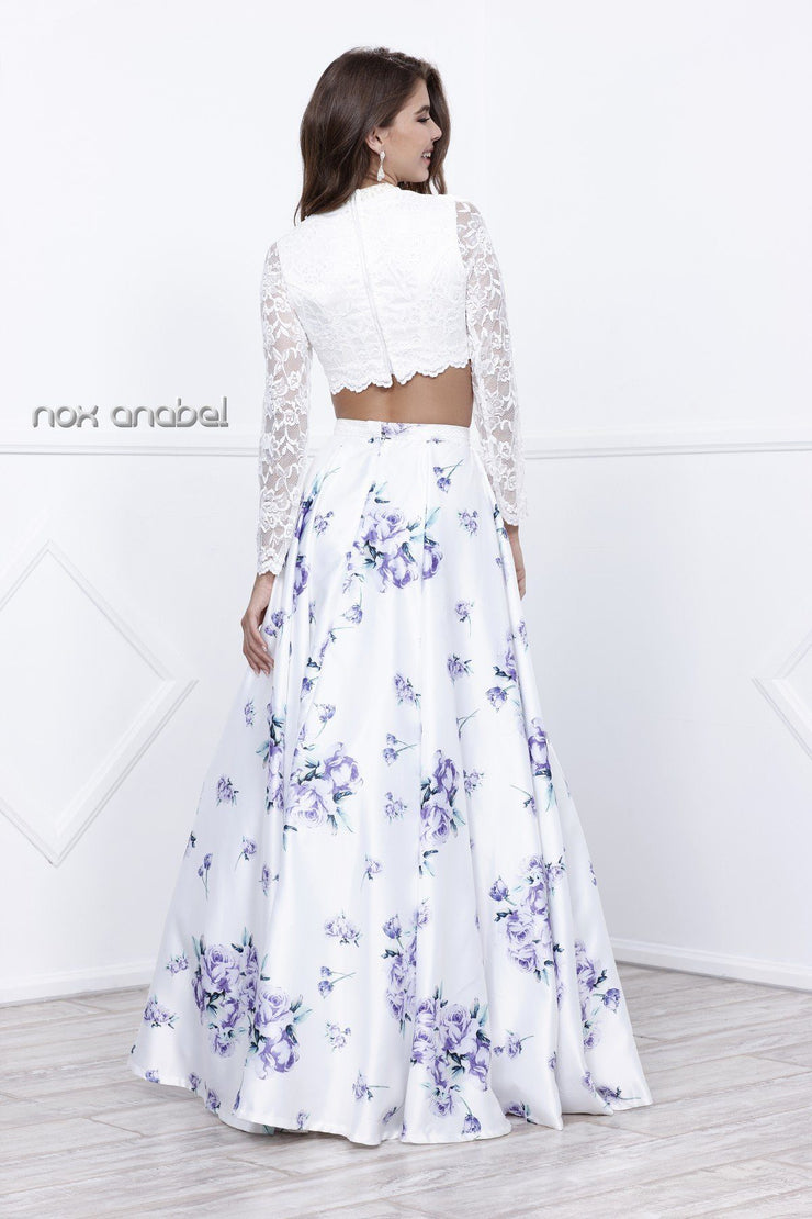 White Lace Crop Top Purple Floral Print Dress by Nox Anabel 8207-Long Formal Dresses-ABC Fashion