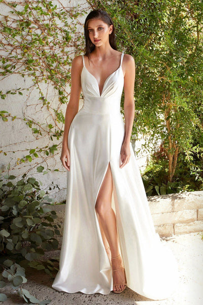 White Long Satin V-Neck Dress by Cinderella Divine CD903W