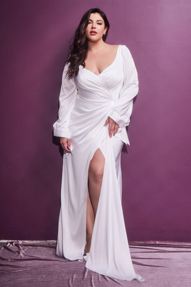 White Long Sleeve Satin Gown by Cinderella Divine 7478W