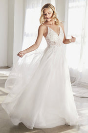 White Long Lace Bodice Tulle Dress by Cinderella Divine KC897W